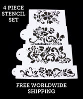 Floral cake stencil, 4 piece set. Flower cake stencil, Wedding cake stencil, cake decorating stencil, Free worldwide shipping (1) (2) (5) (6)